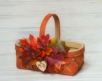 Flower Girl Basket and Ring Bearer Pillow Set Rustic Fall Wedding Decor Personalized with Wood Heart Charm