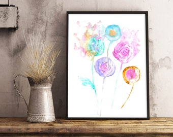 Summer Flowers, Abstract Painting, Hand painted with Watercolors, Wall Art, Digital Art, Printable Poster, Instant Download, Pastel Flowers