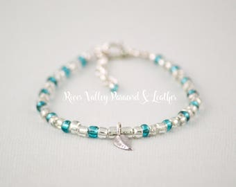 Custom Size Seed Bead Bracelet Silver and Teal with Leaf Charm