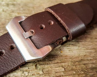 Handmade leather watch strap 24mm, vegetable tanned hand dyed three.FREE SHIPPING