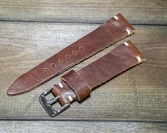 Leather Watch Band, Derby Nut Brown leather watch strap. Tapered: 26-22 mm, 25-22mm,24-20mm, 23-20mm, 22-18 mm, 21-18mm, 20-16 mm, 19-16 mm