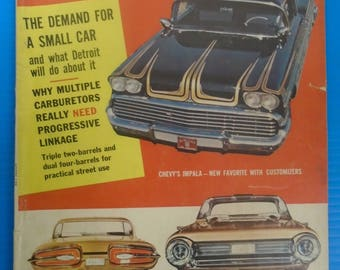 MOTOR TREND MAGAZINE From May 1959...'58 Chevy Customs..Ford's 1959 Styling...Small Cars...Multi-Carbs...Great Stuff!