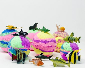 Sale! 3 or 5 7.0 oz Under the Sea Fish Inspired Bath Bombs with Toy Surprise Fish inside.