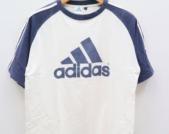 Vintage ADIDAS Triline Big Logo Sportswear White Tee T Shirt Size L