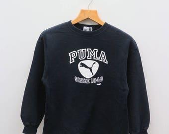 Vintage PUMA Big Logo Sportswear Black Sweater Sweatshirts Size 150
