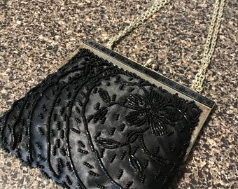 Vintage Black Bead Purse with Chain Strap