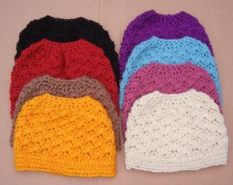Crochet Women's; messy bun hat