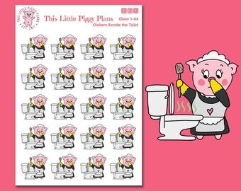 Oinkers Scrubs the Toilet - Planner Stickers - Clean Toilet Stickers - Toilet Stickers - Clean Bathroom - Cleaning Stickers - [Clean 1-04]