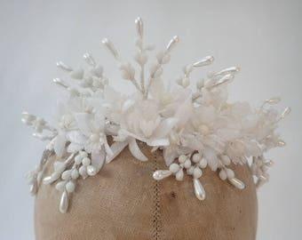 1940's Vintage White Wax Orange Blossom Flower Faux Pearl Headdress Tiara Wreath Wedding Silk