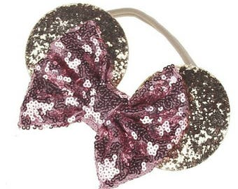 Gold and rose glitter kids disney mickey mouse ears on elastic. Disneyland, baby disney, mickey, Minnie, headband.