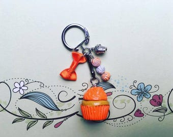 Orange Cupcake - polymer clay keychain