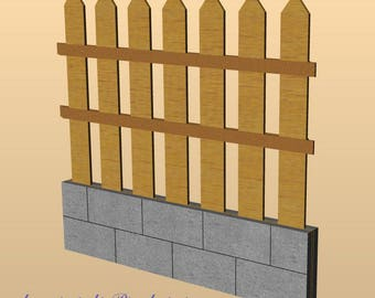 Wooden kit – garden fence for dollshouse in 1:12 scale - accessories for dolls, dollshouse miniature, garden in miniature