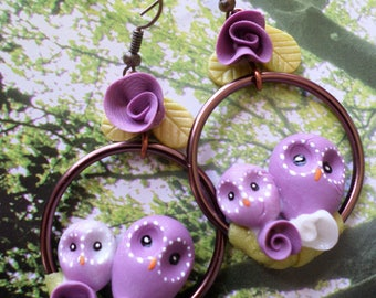 "Earrings ""perched OWL"" cold porcelain"