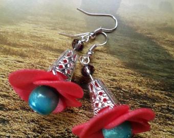 """Earrings """"Flower"""" cold porcelain"""