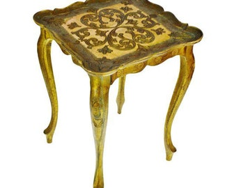 Vintage Italian Florentine Accent Table Plant Stand