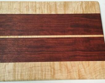 """Figured Maple and Bubinga Serving Board / Cheese Board / Cutting Board 10 1/4"""" x 14"""""""