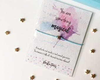 Star Wish bracelet, Watercolor Gift Card, Make a Wish Bracelet, Encouragement Card, Gift Card Bracelet, Inspirational Gift, BFF Gift Card