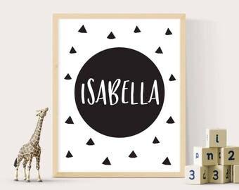 Name print kids, Kids prints, Nursery wall art, Name print, Black and white print, Monochrome print, Kids printable art, Digital print