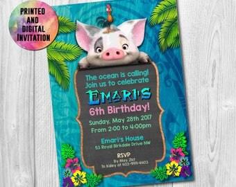 Pua Printed Invitation, Pua Birthday Invitation Digital, Pua Party, Moana the movie, Pua Moana, Pua, Pua movie, , , AB-030