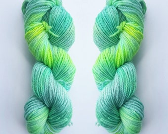 Limeade - Indie Dyed Yarn -100% BFL wool in Dk - shades of Lime