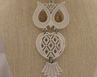 Vintage Large White Articulated Owl Necklace
