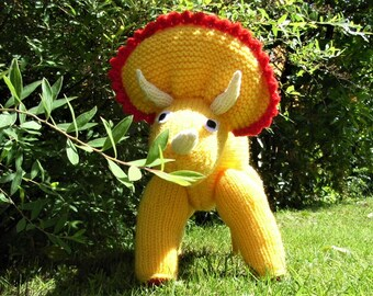 1-2-3-4-here comes a dinosaur - beautiful hand knitted Triceratops