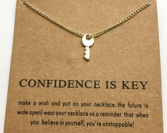 Confidence is Key Necklace, Reminder, Motivation, Jewelry, Simple, Gold Necklace, Charm, Gift Ideas, Confidence, Key Charm, Inspire,