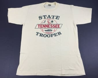 Vintage 80s tennessee state trooper t-shirt mens L 50/50 police
