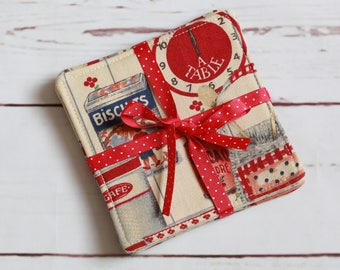 fabric drink coasters set of 4, kitchen red beige cup mat set, drink mat set, mug mats, red table decor, table coasters, biscuit coasters