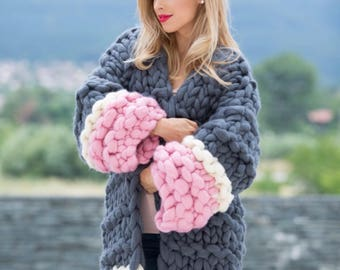 Knitted Cardigan, Knit Oversized Cardigan, Chunky knit cardigan, Chunky Knitted Coat,Wool Cardigan, christmas gift for women