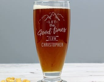 Personalised Let the Good Times Flow Craft Ale Beer Glass Gifts Ideas For Him Mens Pint Tankard Lager Brewery Dad Christmas Birthday