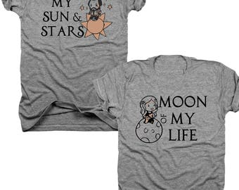 2-Pack Khal & Khaleesi, Moon of my life, my sun and stars, Game of thrones, couples, bundle, his and hers, Best Friends t-shirt set  (B128)