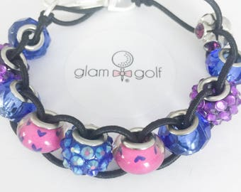Beaded classy golf score stroke counter bracelet or clip on your golf bag with blue, pink, and crystal beads