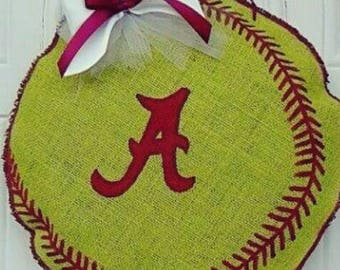 Baseball/Softball Burlap Door Hanger