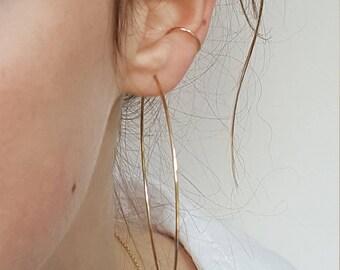 Skinny Gold Ear Cuff  -  Dainty 1mm Adjustable No Piercing Gold Filled Ear Cuff  -  Minimalist Thin Gold Ear Cuff  -  Fake Ear Conch
