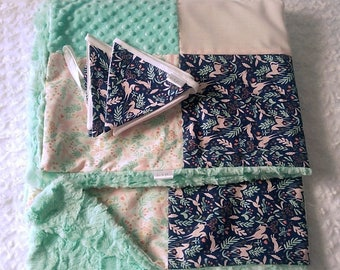 Pink Mint green soft minky and Bunting, Unicorn quilt