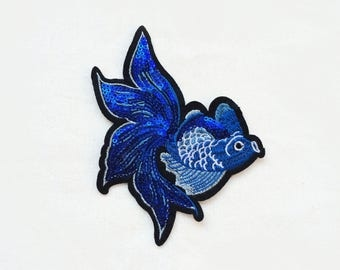 1X LARGE blue Goldfish Sequin SEW ON patch (no glue) patches Applique royal shiny japan fish tattoo