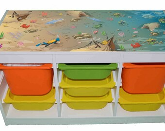 Ocean play – Kids room furniture sticker – Ikea hack Trofast road map sticker for toy storage. - Furniture not included.