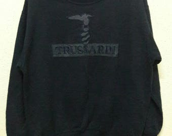 VINTAGE 1990'S Trussardi Pullover Sweatshirt Big Logo Made in Italy