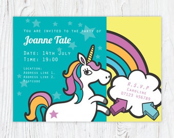 Unicorn girls birthday party invitation magical funky theme party customised pdf download or printed invitation