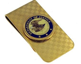 Department of Justice DOJ Emblem Money Clip Gold NEW