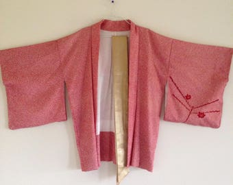 Hand Made Japanese Kimono with Gold Sash in Textured Red/White with Floral Lining O/S FREE SHIPPING
