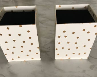 Champagne and Polka-dot Paperboard Pencil Cup,Pen Cup,Makeup Organizer,Makeup Brush Holder,Desk Accessories,Desk Organizer,Cubicle Decor