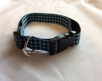 Large dog collar adjustable novelty blue chequered design