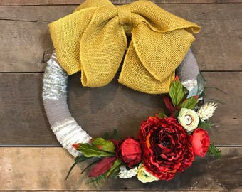 Mustard Bow Topped Yarn Wreath