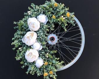Vintage Succulent Bike Wheel Wreath
