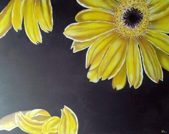 Daisies Amarillas, Yellow daisies on blue