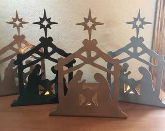Standing Metal Nativity