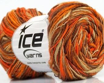 ICE FLAME COLOR ORANGE BEIGE BROWN 50G FINGERING WOOL 3 / / 23