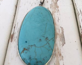 Turquoise Color Stone Pendant with Bail  2""